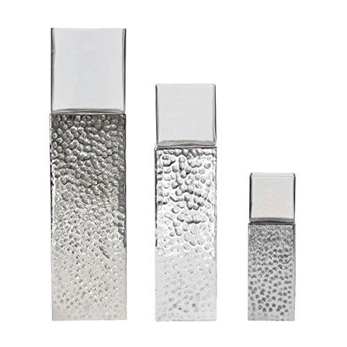 Bodenwindlicht Windlicht Square Silver Aluminium Silber Höhe ca. 40 cm