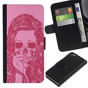 Stuss Case / Funda Carcasa PU de Cuero - Cráneo rosado Chica Mujer Vignette Muerte - Apple Iphone 6