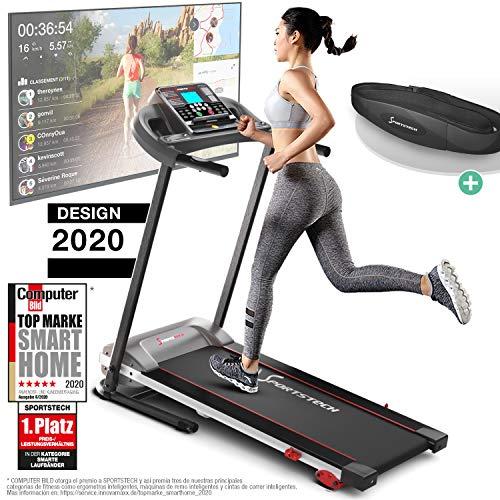 Sportstech F10 Cinta de Correr Modelo 2020 – Marca de Calidad Alemana + Video Eventos y App multijugador – Nueva Consola – | 1HP a 10 km/h | Cinta de Andar con 13 programas, inclinable + Plegable