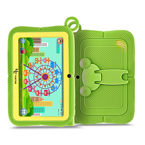 Yuntab Q88R 7 inch Kids Edition Tablet with Premium Parent Control iWawa Kids Software Pre-Installed, Android, Quad Core, 8 GB, WiFi, Bluetooth, Dual Camera, Protecting Silicone Case (Q88R-GREEN)
