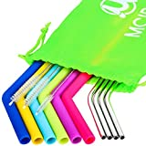 Reusable Silicone Straws - MCIRCO Silicone Straws for 30 oz Tumbler Yeti/Rtic Complete Bundle - Reusable Silicone Straws and Stainless Steel Straws Extra Long Set of 10 with Cleaning Brushes and STO