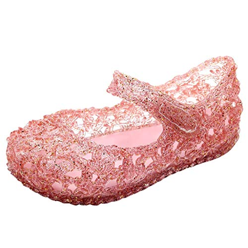 - Tantisy ♣↭♣ Girls Princess Jelly Sandals Mary Jane Bird Nest Layered Lines Flat/Weave Casual Clogs & Mules Shoes Pink