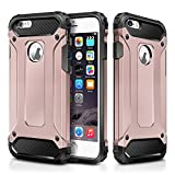 "iPhone 6 Plus Case,iPhone 6S Plus Case,Wollony Rugged Hybrid Dual Layer Armor Protective Back Case Shockproof Cover for iPhone 6/6S Plus 5.5""- Slim Fit - Heavy Duty - Impact Resistant Bumper (Rose Gold)"