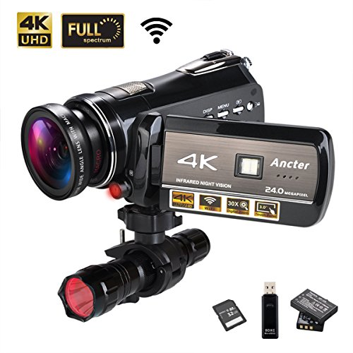 4K Wifi Full Spectrum Camcorders, Ultra HD Infrared Night Vision Paranormal Investigation Video Camera with 60fps 24MP 30X Digital Zoom - Ghost Hunting Camera (32GB SD Card Included) by Ancter