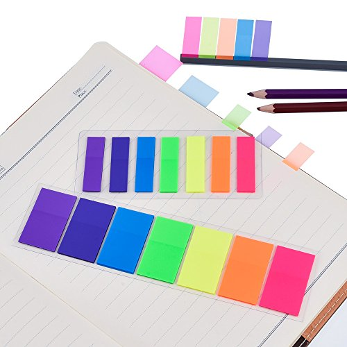 Antner 840 Neon Page Marker Colored Index Tabs Flags Fluorescent Sticky Note for Marking, 6 Stes, 2 Sizes Photo #7