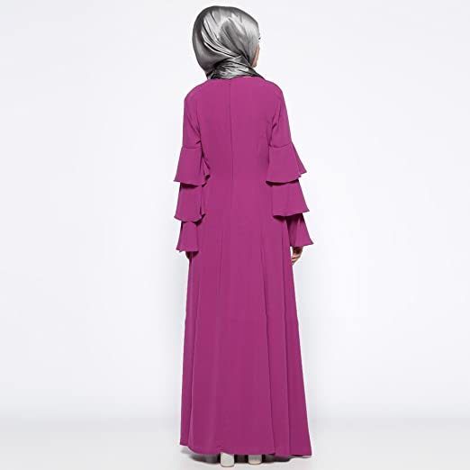 ac181943fb6d Amazon.com: Women Muslim Classic Pure Color Elegant Long Robe Summer Plus  Size Trumpet Sleeve High Waist Pleated Slim Fit Maxi Swing Dress (M, Purple):  ...