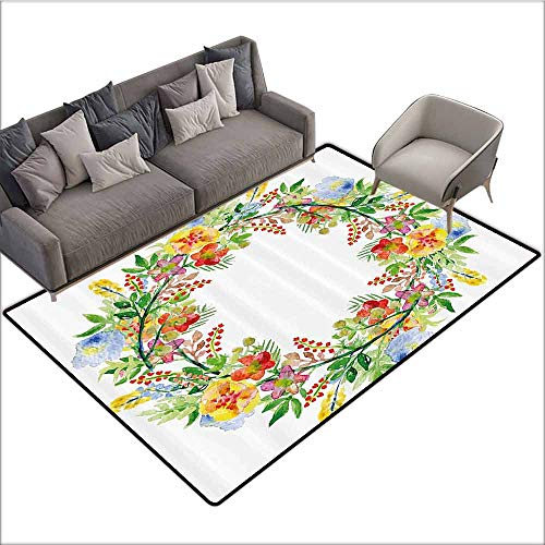 Cute Design Anti-Slip Floor MAT Colorful Flowers Decor,Wreath with Branches Flowers and Leaves Save The Date Card Invitation Print,Multicolored 60