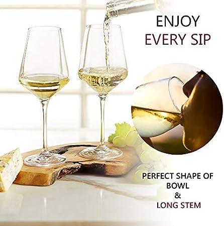 BeEco Copa de Vino Blanco 380ml | Copa de vino grande con tallo largo | Idea de regalo ideal | Producto Ecológico | Juego de 1 | 100% Reciclable