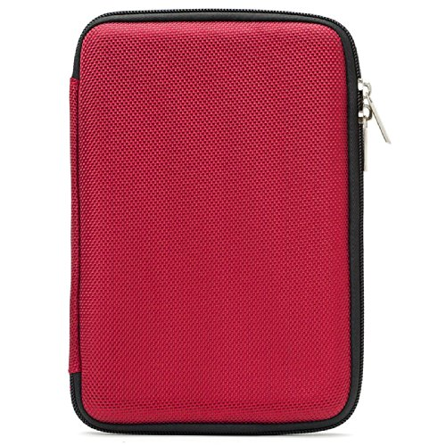 VanGoddy Protective Red Nylon Hard Cube Case Compatible with Kobo Aura Edition 2 | Huawei Media Pad T3 7, X2 | Amazon Kindle, Kindle Voyage, Kindle Paperwhite 6''-7in by Vangoddy
