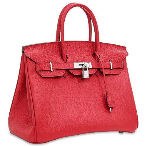 Hardware Leather with Red Top Handle SanMario Silver Designer Women's Bag Handbag Padlock qcYvWZwR7x