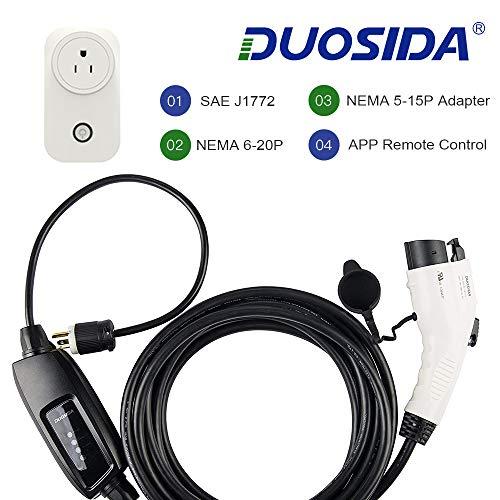DUOSIDA WiFi Enabled Smart Electric Vehicle (EV) Charging Station-16 Amp 110-220V Level 2 EV Charger EVSE, 25ft, NEMA 6-20 Plug, Indoor/Outdoor Use (Best Ev Charging Station App)