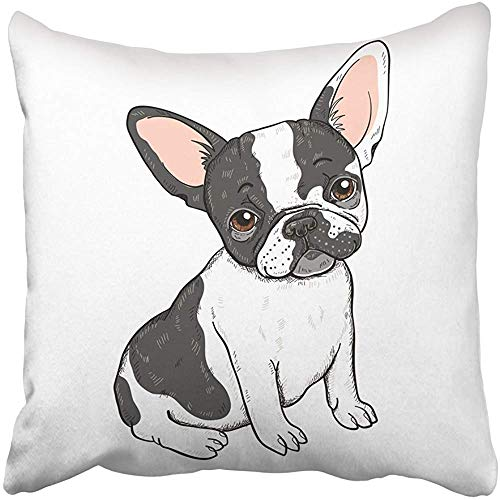 Throw Pillow Cover Polyester 18x18 Inch Decorative Black Dog of Cute Cartoon French Bulldog White Adorable Animal Breed Canine Character Deco Cushion Pillowcase Print Sofa Home by Staropor