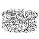 EVER FAITH Austrian Crystal Wedding Art Deco Stretch Bracelet Clear Silver-Tone