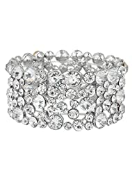Ever Faith Silver-Tone Austrian Crystal Wedding Art Deco Stretch Bracelet Clear N04871-1