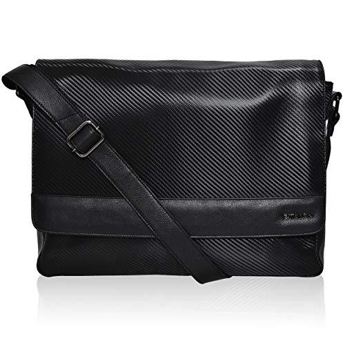 Leather Laptop Messenger Bag for Men - Premium Office Briefcase 14