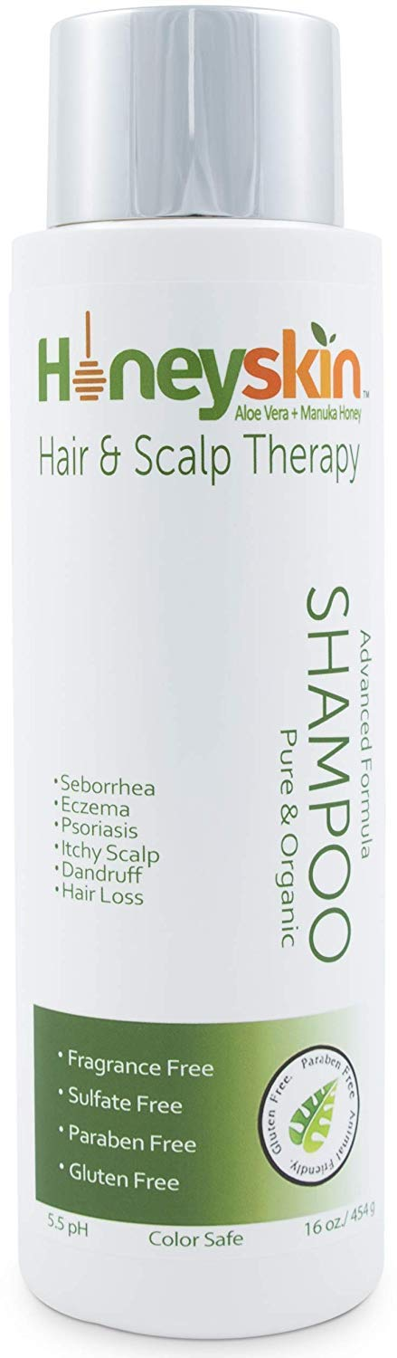 Natural Hair Growth Shampoo - with Manuka Honey, Coconut Oil, Aloe Vera Extract - Organic Hair Loss and Itchy Dry Scalp Treatment - Paraben and Sulfate Free (16 oz)