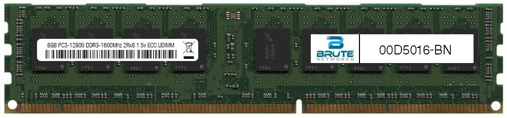 00D5016 - IBM Compatible 8GB PC3-12800 DDR3-1600Mhz 2Rx8 1.5v ECC UDIMM by Brute Networks