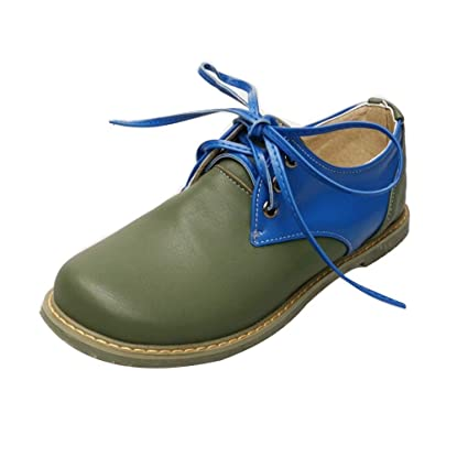 38cb830608 Couple Vintage Closed Toe Shoes Low Heel Toe Shoes Grommet Lace Flats Heel  Shoes (Blue