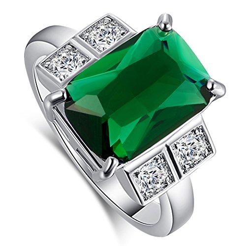 Narica Women's Elegant 10mmX14mm Radiant Cut Emerald Quartz CZ Wedding Ring (Cocktail Radiant Ring)