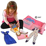 Dress up Doll Set with Personalized Carry Case and Easy Press On Outfits