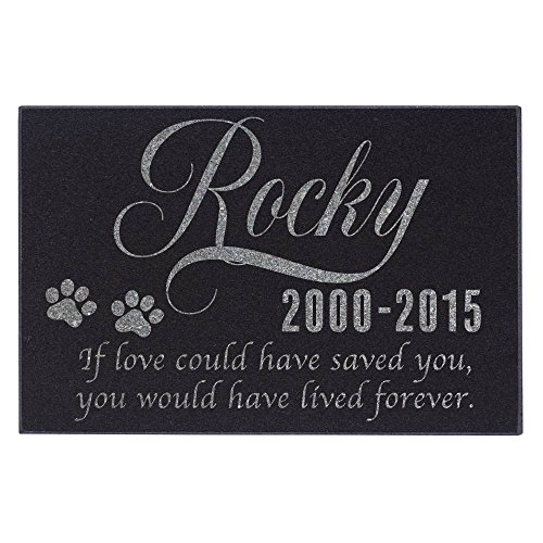 """Personalized Pet Memorial Stone - Granite Dog Grave Marker   12"""" x 8""""  Sympathy Poem, Loss of Dog Gift, Indoor - Outdoor Tombstone Headstone - Cat Grave Marker w/Pet Name #S1"""