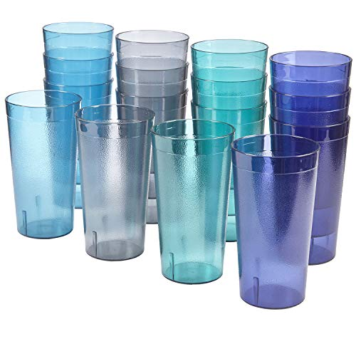 (Cafe 20-ounce Break-Resistant Plastic Restaurant-Style Beverage Tumblers | Set of 16 in 4 Coastal Colors)