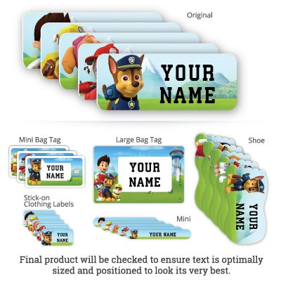 PAW Patrol Personalized Waterproof Weatherproof No-Sew School Package including Labels and Bag Tags for Kids and Teens (PAW Patrol)