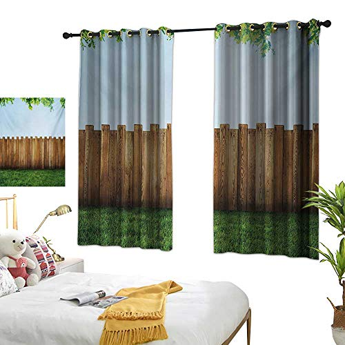 (Bedroom Curtains W55 x L72 Farmland,Rustic Plank Over Field Meadow Tranquil Nature Yard Neighborhood Image Print,Green Brown Blackout Window Curtains Living Room Dining Room Kids Youth Room)