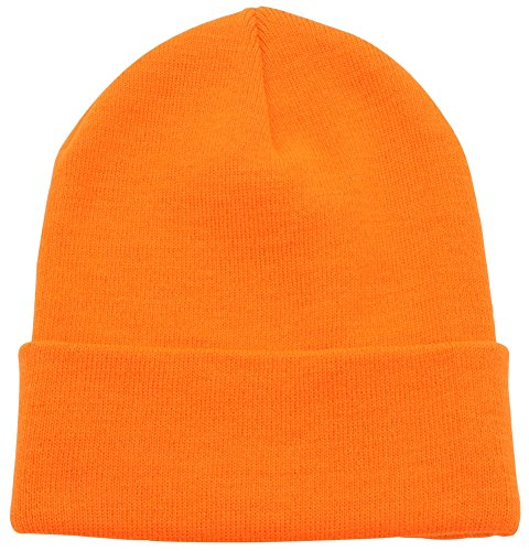 Top Level Unisex Cuffed Plain Skull Beanie Toboggan Knit Hat/Cap, Neon Orange