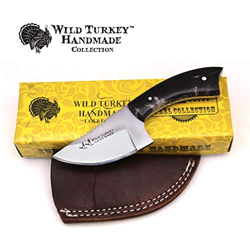 Horn Handle Leather Sheath - Wild Turkey Handmade Real Camel Bone Handle Fixed Blade Skinner Knife w/Leather Sheath (Horn)