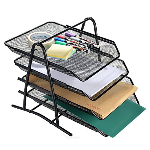 AGPtEK 4 Tiers Black Mesh Filling Desk Letter Paper Storage Tray Organizer for Home & Office Use (4 Tier Tray)
