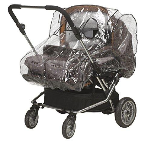 Playshoes 448943 Regenverdeck, Regenschutz, Regenhaube für Zwillingskinderwagen mit Kontaktfenster