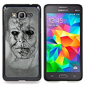 - Zombie Art Drawing Portrait Man Scarred Face - - Snap-On Rugged Hard Cover Case Funny HouseFOR Samsung Galaxy Grand Prime G530H G5308