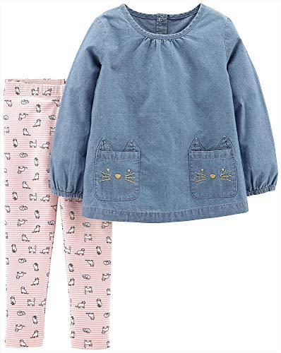 Carter's Baby Girls Kitty Chambray Tunic Leggings Set 18 Months Denim Blue/Pink/White