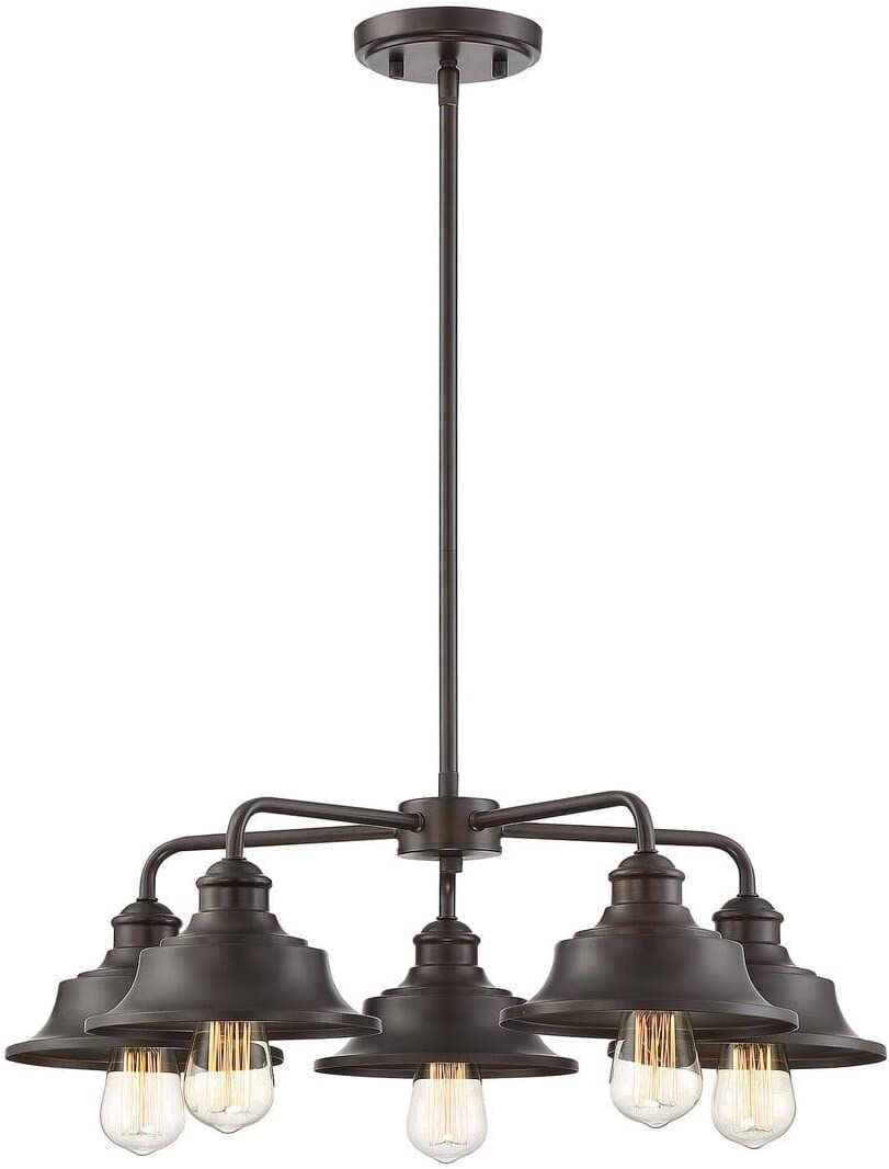 Trade Winds Lighting TW10052ORB 5 Light Vintage Industrial Hanging Ceiling Pendant Chandelier with Metal Shades, 60 Watts, in Oil Rubbed Bronze