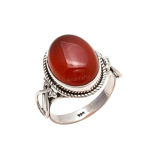 Carnelian Gemstone Ring Handcrafted Sterling Silver Ring