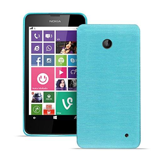 Silikonhülle für Nokia Lumia 630 Hüllle Rückschale im gebürsteten Design Tasche Handytasche Brush Silikon Case Slim hellblau
