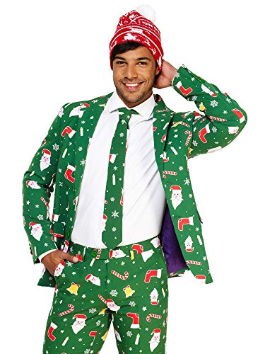 (OppoSuits Christmas Suits for Men in Different Prints – Ugly Xmas Sweater Costumes Include Jacket Pants & Tie + Free)