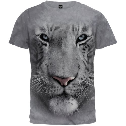 The Mountain White Tiger Face Adult T-Shirt, Grey, Large