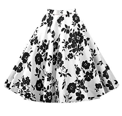 Femme Jupe Taille Haute Vintage Chic Rtro Annes 50 Midi Jupe Plisse Blanc