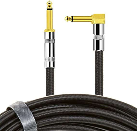 Guitar Cable 10 ft SOLUTEK Real Tone Instrument Cable AMP Cord with Braided Cloth Jacket(1/4 Quarter inch TS Straight-Right Angle Cable) Ultra-Durable Reliable Guitar Cord Noiseless