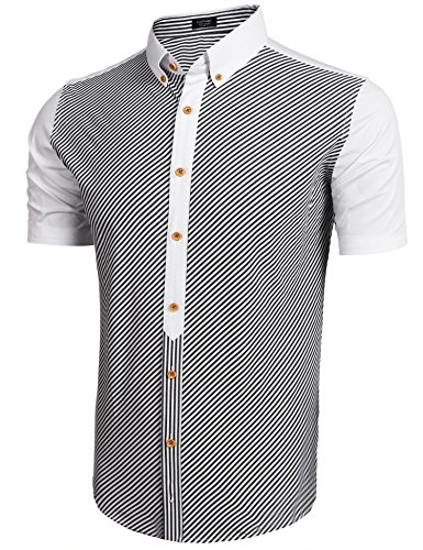 Gotchicon Mens Striped Short Sleeve Button Down Shirts Dress Shirt (Shirt Mens Striped Down Button)