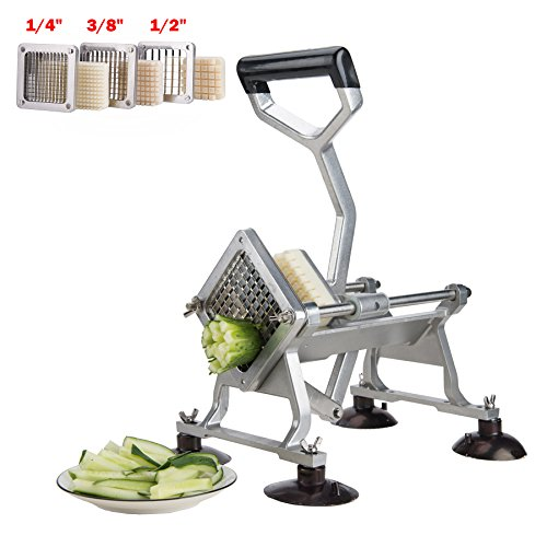 CO-Z Commercial Grade Aluminum Alloy Heavy Duty French Fry Cutter & Slicer with Suction Feet Complete Set (French Fry Cutter with 1/4 3/8 1/2 Wedge Blades) by CO-Z