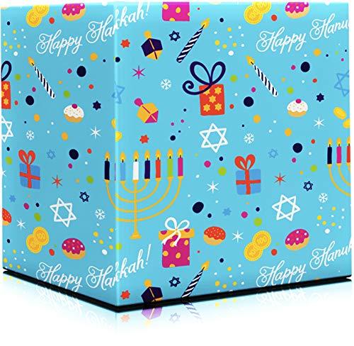Happy Hanukkah Gift Wrap Chanuka - Gift Design 17.5IN. X 144 in. Each (Pack of 2 -