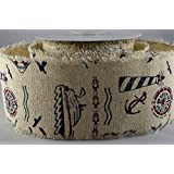 60mm Nautical Printed Burlap Design x 10 Metre Rolls!! by The Ribbon Room