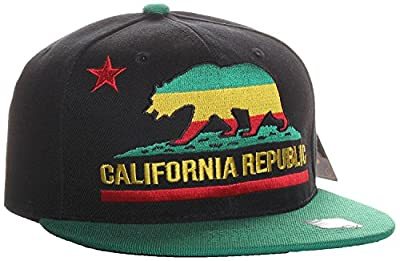 American Cities California Republic Flat Bill Bear Logo Only Style Snapback Hat Cap -