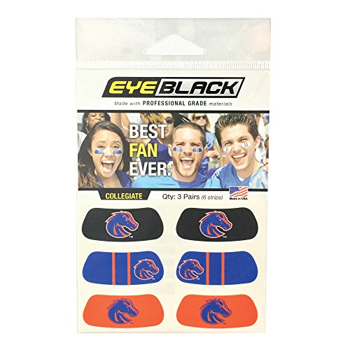 EyeBlack Boise State Broncos Eye Black Anti Glare Stickers, Great for Fans and Athletes on Game Day, 3 Pair ()
