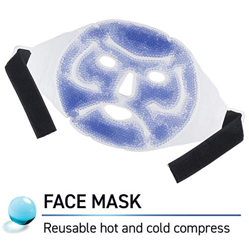 TheraPearl Face Mask, Reusable Hot Cold Ice Therapy Mask with Gel Beads, Flexible Cold Eye Mask for Acne, Swollen Face, Puffy Eyes, Relaxation, and Stress Relief