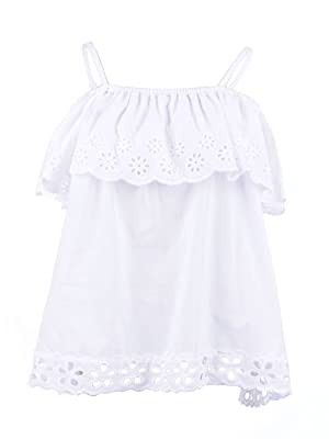 Anna-Kaci S/M Fit White Ruffle Top Trim Bodice Stamped Eyelet Scallop Hem Top