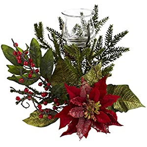 GREATHOPES Poinsettia Candleabrum Artificial Flower Decorative 11